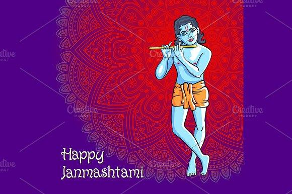 Krishna. Happy janmashtami vector  - Graphics