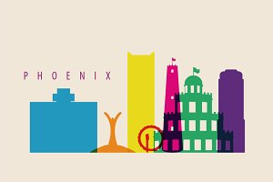 Pheonix City Skyline Illustration