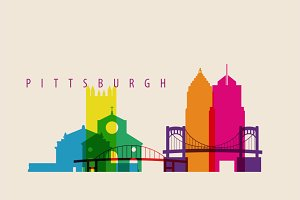 Pittsburgh City Skyline Illustration