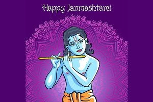 Krishna. Happy janmashtami vector