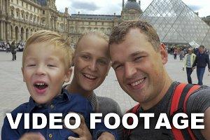 Family making selfie video