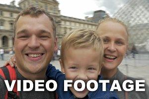 Family taking spinning selfie video