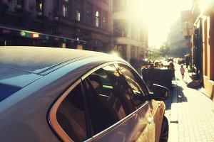 Car on a city street. Riga