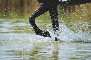 Horse legs in water