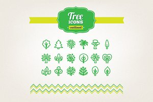 Hand drawn tree icons