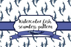 Watercolor fish seamless pattern