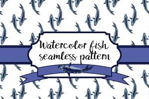 Watercolor fish seamless pattern