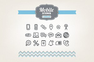 Hand drawn mobile icons