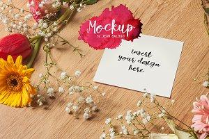 Floral Square Card/Print Mockup