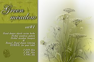 Green meadow herbal sketch set  #1