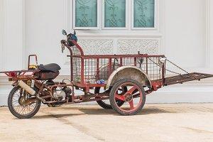 three wheeled motorbike cart