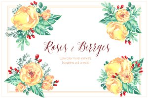 Yellow roses & Berryes