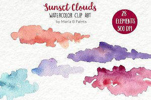 Watercolor Clip Art - Sunset Clouds