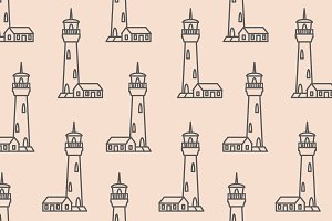 Lighthouse vector seamless pattern