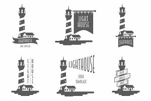 Lighthouse set of vector logos