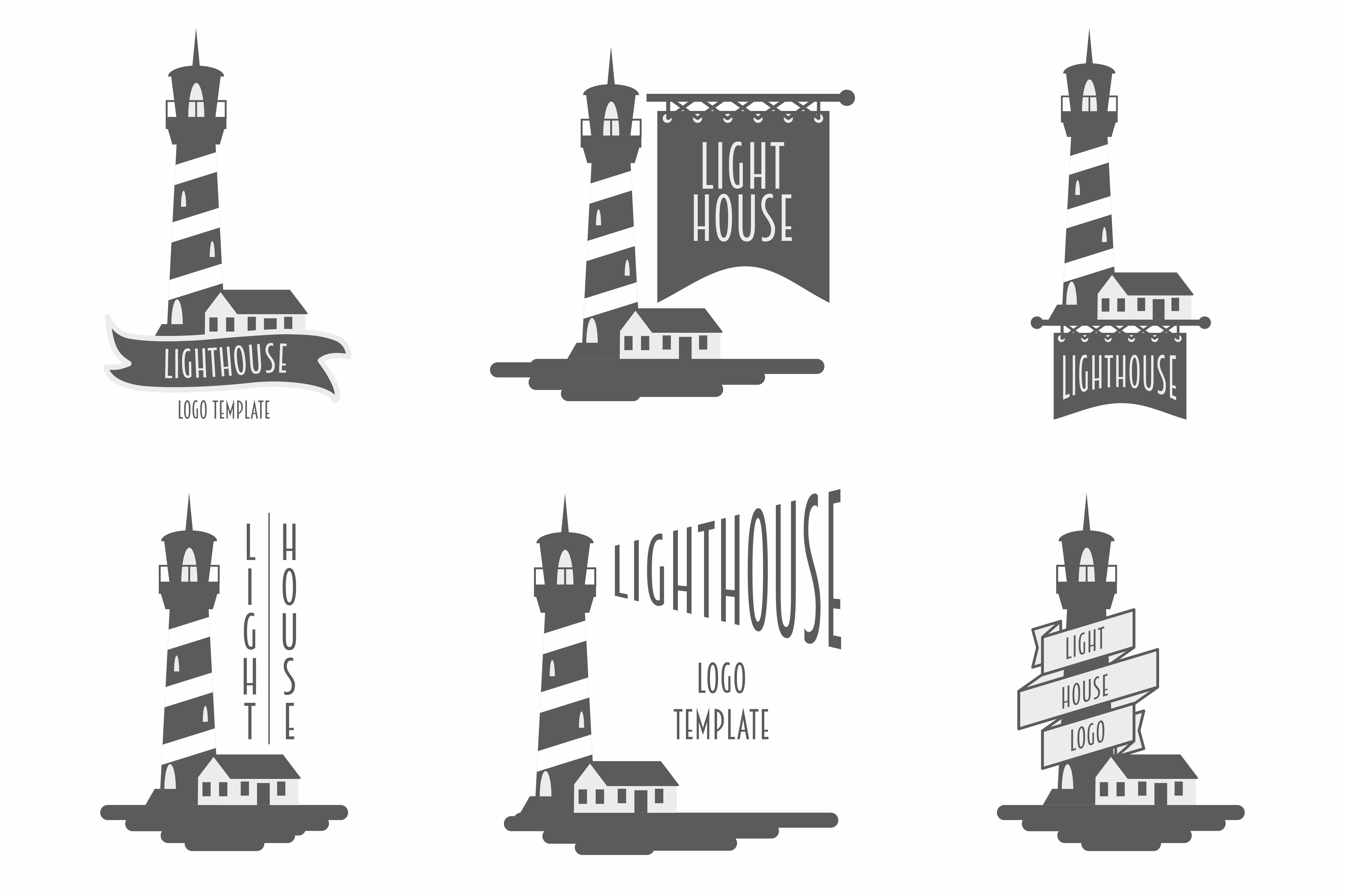 Lighthouse set of vector logos ~ Logo Templates ~ Creative ...
