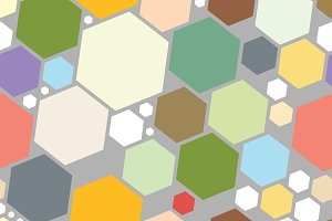 Multicolored pattern with hexagons