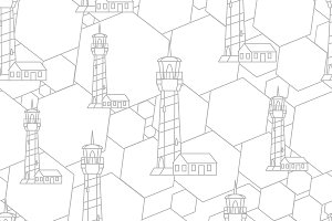 Linear lighthouse seamless pattern