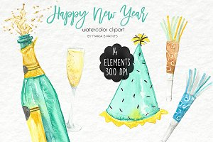 Watercolor Clip Art - New Year