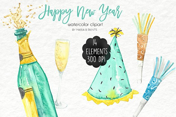 watercolor clip art new year illustrations