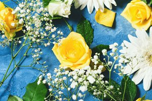 Floral composition on blue