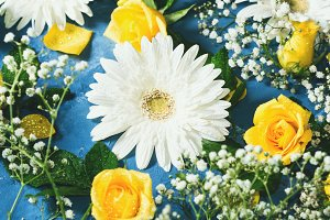 Floral composition on blue