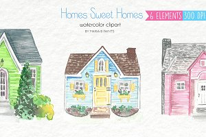 Watercolor Clip Art - Houses