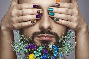 flowers on man beard