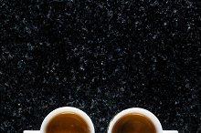 two cups of fresh Coffee Espresso