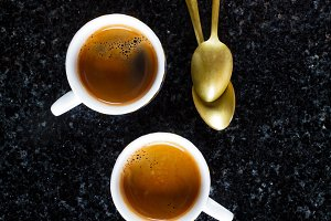 two cups of fresh Coffee Espresso