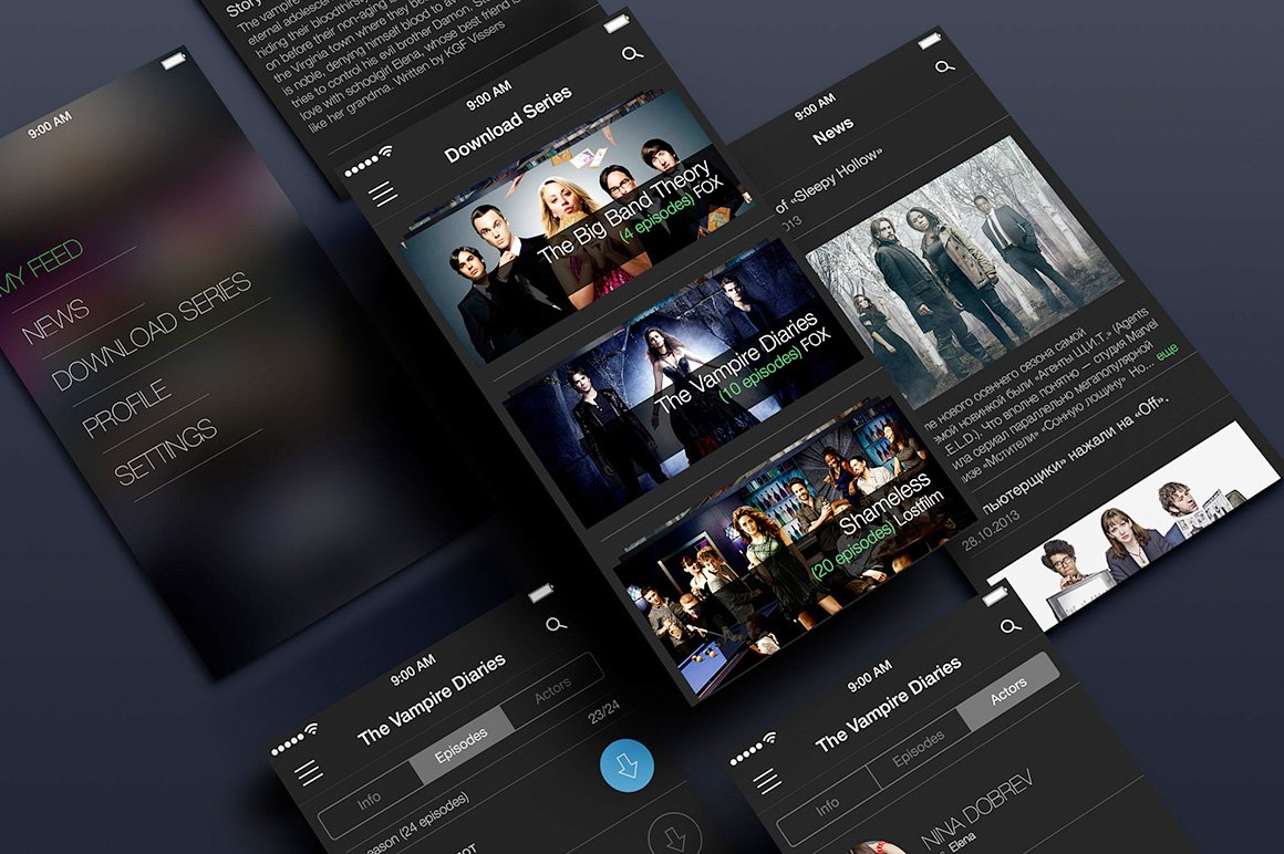 Tv Shows App Product Mockups Creative Market