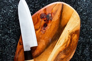 empty Cutting Board and Knife