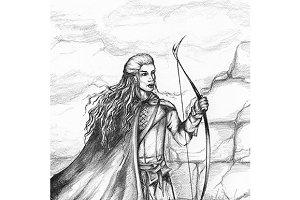 Medieval hunter monochrome sketch