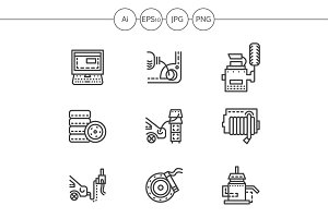 Car service maintenance line icons