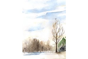 Watercolor spring forest landscape