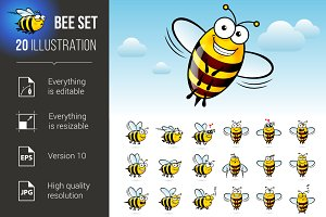 Cartoon Bee Set