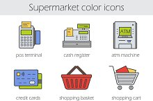 Supermarket. 9 color icons. Vector