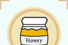 Honey jar color icon. Vector