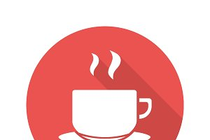 Tea cup on plate icon. Vector