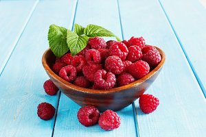 Ripe fresh raspberries