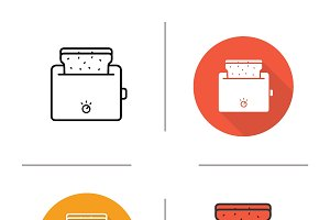 Toaster. 4 icons. Vector