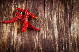 Dried red hot chili peppers