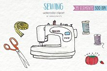 Watercolor Clip Art - Sewing