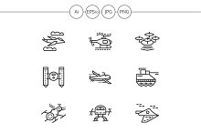 Military drones line icons. Set 1