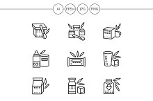 Baby food black line icons. Set 1