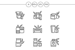 Baby food black line icons. Set 1