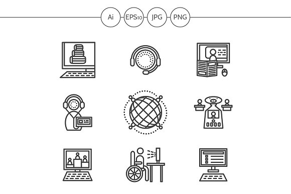 Education online line icons. Set 1 - Icons