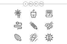 Saving energy line icons. Set 1