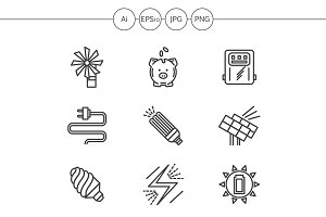 Saving energy line icons. Set 1