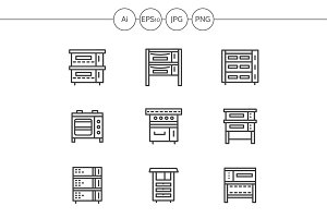 Ovens and stoves line icons. Set 1